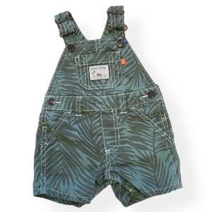 Adorable green palm leaf print short overalls